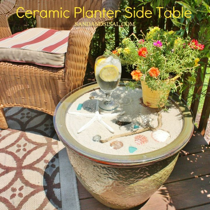ceramic planter side table decks outdoor furniture painted furniture patio