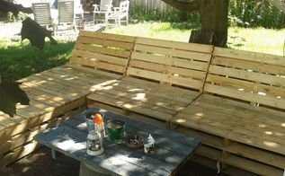 pallet sectional for outside, diy, pallet, repurposing upcycling, 15 large pallets so far is what I ve used