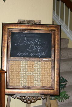 repurposed picture frame into chalk board wine cork board, repurposing upcycling, AFTER