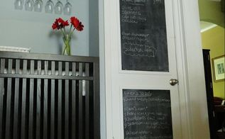 chalkboard door make your own, chalk paint, chalkboard paint, doors, home decor, painting, After Chalkboard door in kitchen made from foam core chalkboard paint and trim