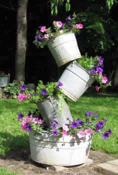 tipsy bucket tower, diy, flowers, gardening, how to, Tipsy buckets