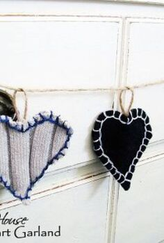 sweater heart garland, crafts, seasonal holiday decor, valentines day ideas