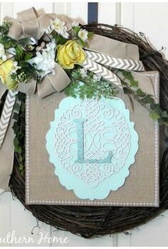 spring monogrammed wreath, crafts, decoupage, seasonal holiday decor, wreaths, My new spring wreath is created with supplies from Michaels Stores