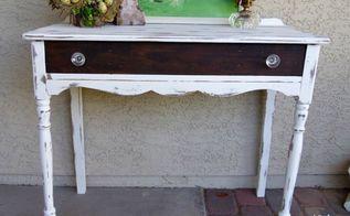 shabby white writing desk amp vintage crystal cherub lamp, painted furniture