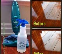 all natural homemade floor cleaner, cleaning tips, Homemade Floor Cleaner before after shots of our dark laminate wood floors
