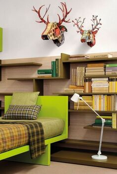 modern bed, bedroom ideas, painted furniture, shelving ideas