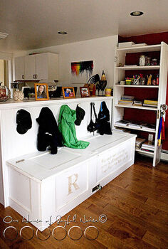doors to storage literally, repurposing upcycling, storage ideas, Old Door Bench and Storage with hidden features see inside