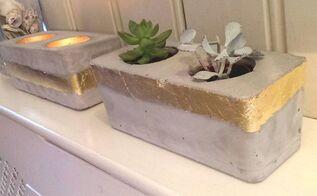 concrete and gold tea light votive and planter, concrete masonry, crafts, diy, concrete and gold planter and tealight votive