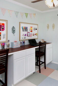 organized craft room, craft rooms, organizing, DIY craft room desk using cabinets for plenty of storage and organization