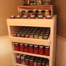 canning cupboard made from recycled pallets, homesteading, pallet, shelving ideas, woodworking projects, Canning Pantry holds over 200 quarts and pints of canned goods from our garden