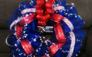 pencil wreath with blue mesh red white blue strip ribbon wired star, crafts, wreaths, Fourth of July Get yours