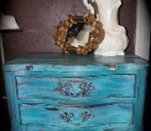 a rescued nightstand painted up with a aged turquoise finish, painted furniture