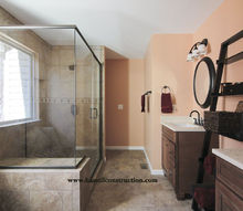 builder s grade bathroom turned to showcase space, bathroom ideas, home decor, home improvement, New redesigned space with a custom tile shower