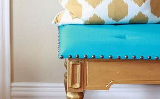 turn a coffee table into a tufted bench, painted furniture, repurposing upcycling