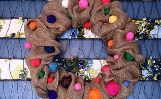 make a burlap ribbon wreath decorate one wreath for all seasons, crafts, home decor, I am coocoo for color and I love the juxtaposition of these simple yarn balls with the burlap