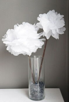 diy tissue paper flowers, crafts, home decor, Glue a stick onto the flower and make a bouquet