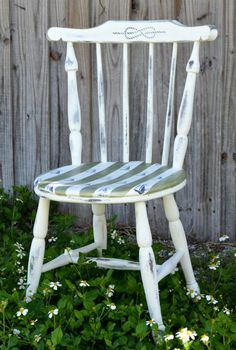 diy striped nautical chair, painted furniture