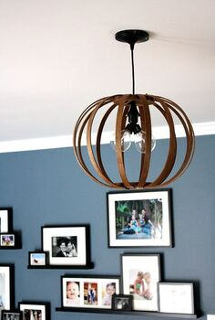 west elm bentwood pendant light knock off made from quilting hoops, crafts, home decor, lighting, repurposing upcycling