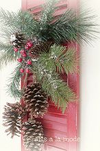old shutter christmas door decoration, christmas decorations, repurposing upcycling, seasonal holiday decor, I bought an evergreen spray at Joann s and it already had the pine cones hanging from it PERFECT