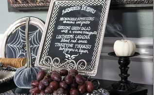 decorating for a devilish dinner party with diy halloween chalkboard art, chalk paint, chalkboard paint, crafts, halloween decorations, seasonal holiday decor, A Morbid Menu completes the scene