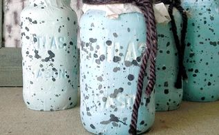 faux speckled egg mason jars, crafts, decoupage, mason jars, repurposing upcycling, Faux speckled egg mason jars
