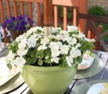diy umbrella planter, flowers, gardening, outdoor furniture, outdoor living, painted furniture