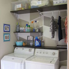 124 laundry room overhaul pass through to garage custom diy shelves labels, flowers, garages, home decor, laundry rooms, organizing, shelving ideas, Wall Art and Decor in Laundry Room