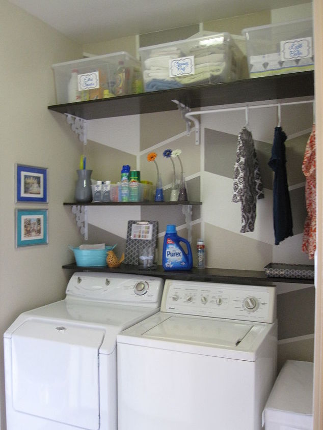 124 laundry room overhaul pass through to garage custom diy shelves labels storage - Diy small space storage decoration ...