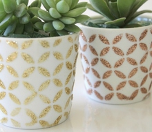 little succulent pots, crafts, decoupage, flowers, gardening, home decor, succulents, A touch of gold with Mod Podge stencils and glitter