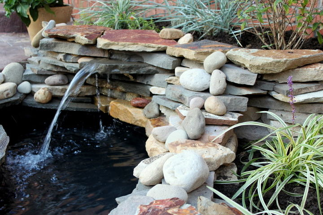 diy backyard pond amp landscape water feature landscape outdoor living patio ponds: diy patio pond