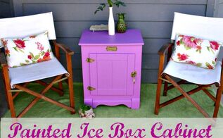 giving an icebox a new color makeover for our summer porch, kitchen cabinets, painted furniture, repurposing upcycling, A fun cheerful color on this icebox is just what our summer porch needed to liven it up