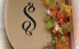 fall front porch monogrammed burlap wreaths, crafts, curb appeal, seasonal holiday decor, wreaths