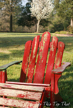 a little paint and stencil to jazz up the adirondack chair, painted furniture, The tired chair