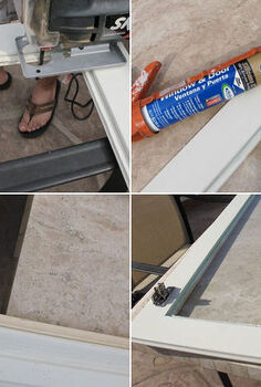 how to install glass to your kitchen cabinets, kitchen cabinets, kitchen design, 1 Remove the center panel 2 Add a very small piece of molding to hide all the rough cuts and paint 3 Run a single bead of clear silicone 4 Press the pane of glass into the groove let it dry overnight Add a simple plastic frame clip