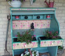 old desk blossom s with new life, gardening, painted furniture, repurposing upcycling
