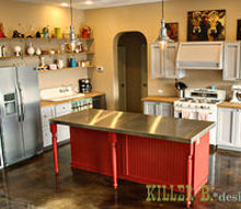 handbuilt vintage country kitchen for 5000, diy, how to, kitchen design, kitchen island, woodworking projects, full kitchen view The open shelving was made with reclaimed oak boards along with cable shelf brackets