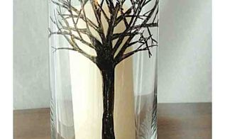 winter tree hand drawn pillar candle holder, crafts, home decor, Drawn Tree on glass