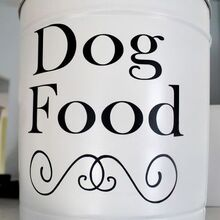 turn that leftover popcorn tin into a dog food bin, organizing, repurposing upcycling, It made an attractive storage bin