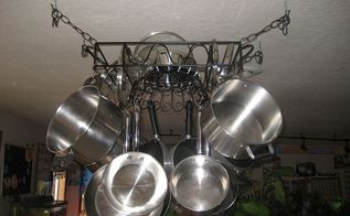 diy hanging pot pan rack, kitchen design, repurposing upcycling, storage ideas, Hanging from the ceiling with all the pots pans on There s even room at the top for the lids and steamer basket