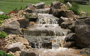 davidson n c pondless waterfall, ponds water features, A four tiered waterfall kicks off this pondless waterfall project