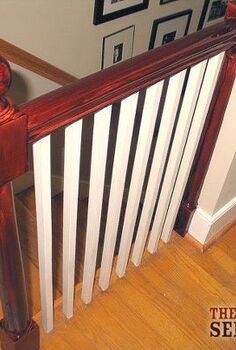 before and after banister, painting, The attempt to stain our old banister did not go well