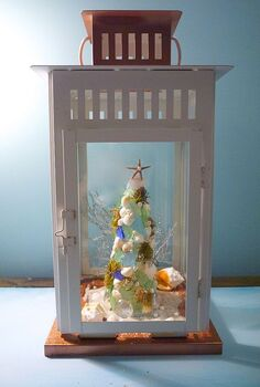 shell and sea glass christmas tree, christmas decorations, seasonal holiday decor, the tree gets a holiday glow with flameless votives popped inside