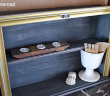 repurposing a dresser drawer, chalk paint, painted furniture, repurposing upcycling, And here it is slightly distressed but with some gold glamor A perfect shelf to hang on the wall or sit on a table