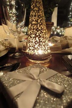 holiday dining room ralph lauren amp goodwill, christmas decorations, seasonal holiday decor, Silver trees from Target set over a votive offers the perfect Christmas glow