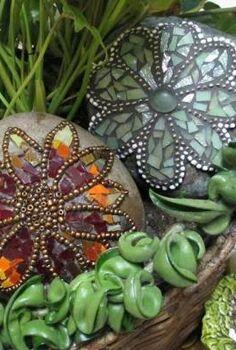 sue s rock star mosaic rocks, crafts, gardening, repurposing upcycling, Rock stars
