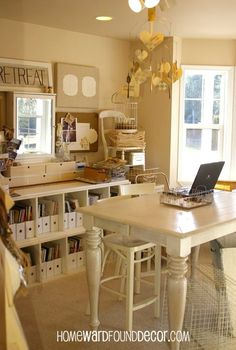 your office can be beautifully organized on the cheap, home decor, organizing, my former office studio as seen on Vintage Indie blog