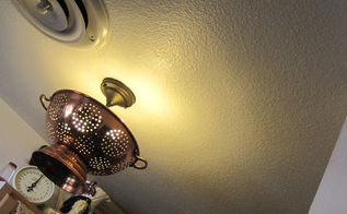 copper and giggles my new unique kitchen light, kitchen design, lighting, repurposing upcycling, I love it It matches my copper ceiling fan too It IS a conversation piece