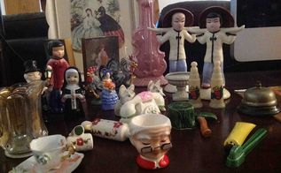 salt and pepper jackpot i need your help ht ers anyone know pottery, repurposing upcycling, Look at all the goodies Toothpaste and brush S P Kreiss Mrs Claus egg Axe and stump S P nun and look at the teeny tea cup occupied Japan on the bottom
