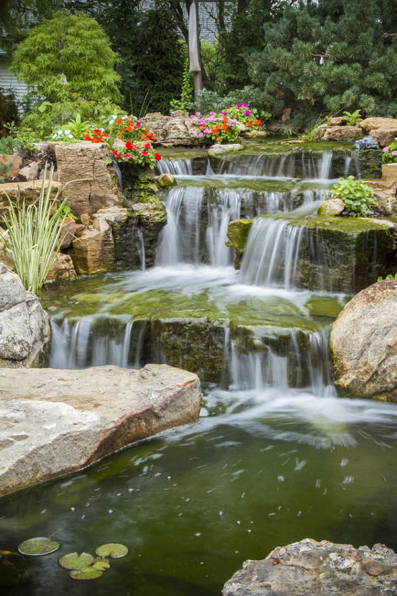 Backyard oasis with pond and waterfalls hometalk for Backyard ponds and water features