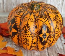 ukrainian egg pumpkins, seasonal holiday decor, This idea was inspired by Ukrainian egg designs Using a pencil I sketched out a pattern on the pumpkin